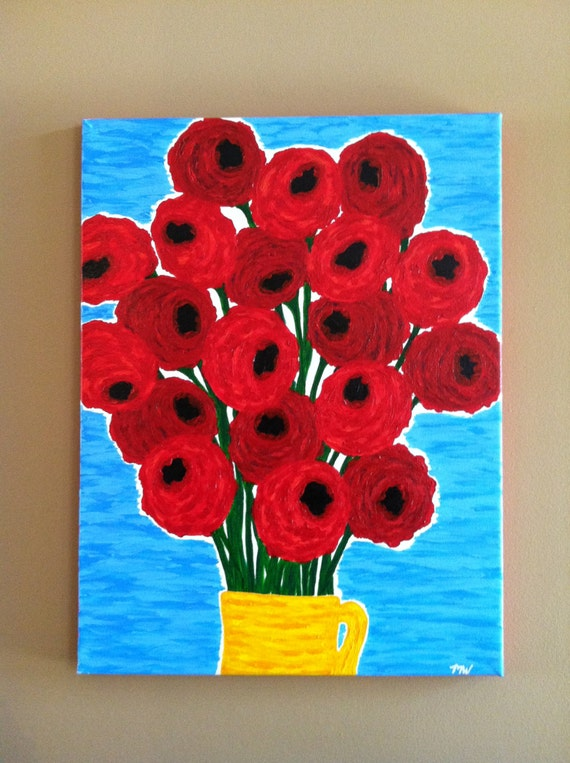 "Original Abstract Painting ""Red Poppy Flowers with a Yellow Vase"""