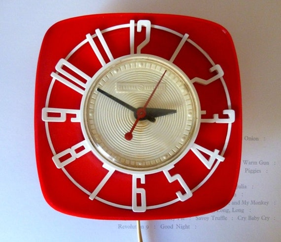 Red and White Vintage 1960s General Electric Telechron Wall Clock Model 2H44