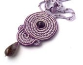 Proved Pendant with Amethyst ,Soutache jewelry, Violet hand embroidery Pendant, Handmade jewelry, - PinkiWorld