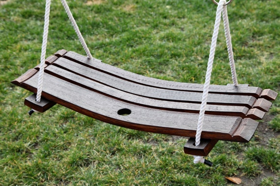 Full Wine Barrel Stave Outdoor Swing