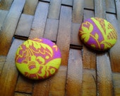 Fabric Covered Button Earrings-Vignette