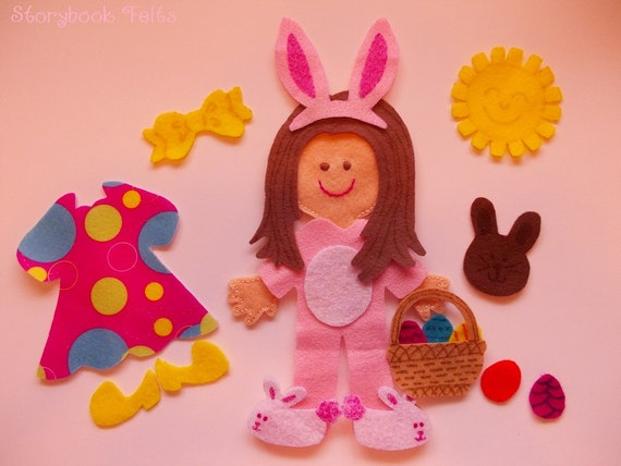 Storybook Felts Felt My Little Easter Girl Doll Dress Up Set 17 PCS Paper Doll