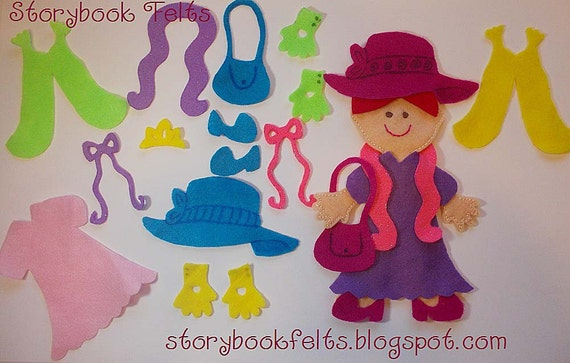 Storybook Felts Felt My Little Let's Play Dress Up Doll Dress Up Set  23 PCS