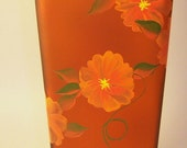 Square Amber Vase Hand Painted Orange Flowers Upcycled Unique Interior Design Home Decor Secretary Mothers Day USA