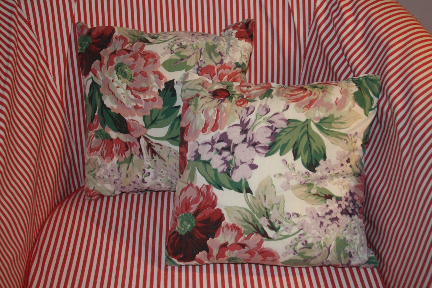 vintage floral pillows shabby chic garden by LadyoftheLakeVintage