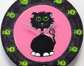 Black Cat Clock. Hand Painted Art Clock. Child's Bedroom Wall, Kids Clock - BlackbirdClocks