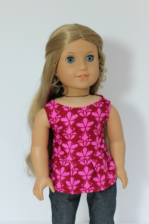 Pink and Red Peplum Top-American Girl Doll