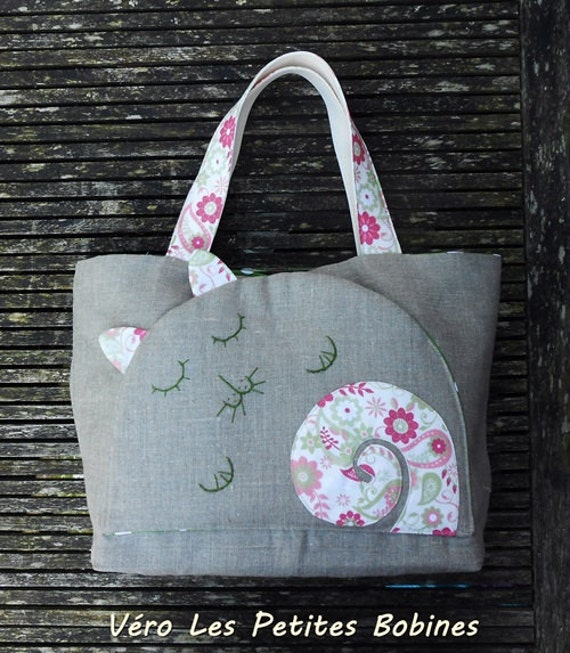 Tote bag beach bag, linen and cotton  THE PINK CAT