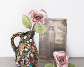 Little Memory Jar - ceramic pitcher embellished with vintage trinkets - janedean