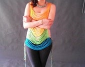 Crochet Tank Top, Chain Link Collection, Orange - Aqua - Lime Green- Custom colors