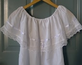 vintage boho white mexican ruffle peasant top xs/small