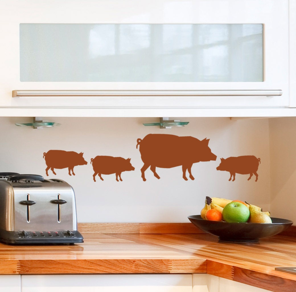 Pig decal decor wall stickers Farm Animal by HouseHoldWords