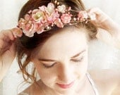pink floral crown, pink cherry blossom, wedding flower hair circlet - LOVE SONNET - bridal hair accessories, floral wreath