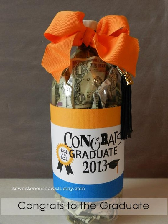 Graduation Gift-Soda Bottle Filled with Cash or Treats- Labels and Gift Tags