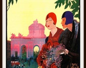 Vintage Travel Poster of Madrid circa 1925 with Flappers - Giclee Re-Print - RosiesVintagePrints