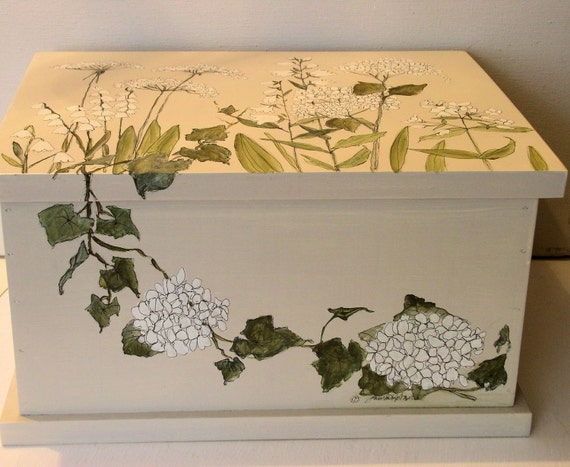 Painted Nature Box Custom Made Furniture Woodland Botanical Garden Storage Laurie Rohner