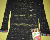 Black and bright Upcycled crochet  sweater fits med to xl