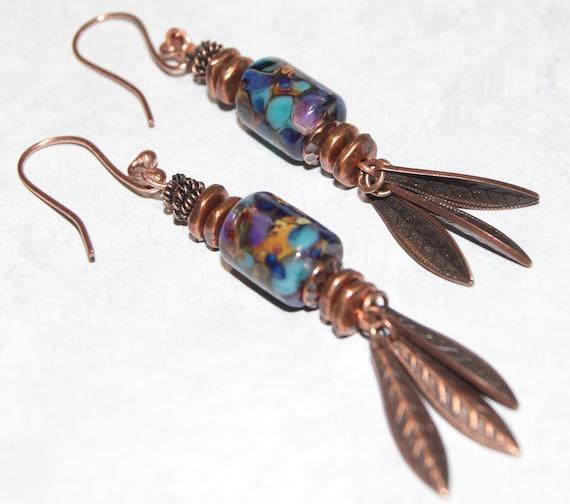 Raku Frit Art Bead Barrel Earrings