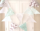 4 Feet Banner,9 Flag Bunting, Light Blue, Grey, Chevron, Damask, Polka Dot, Cloud, Circles Baby Nursery Decor, Wedding, Birthday Party - vintagegreenlimited