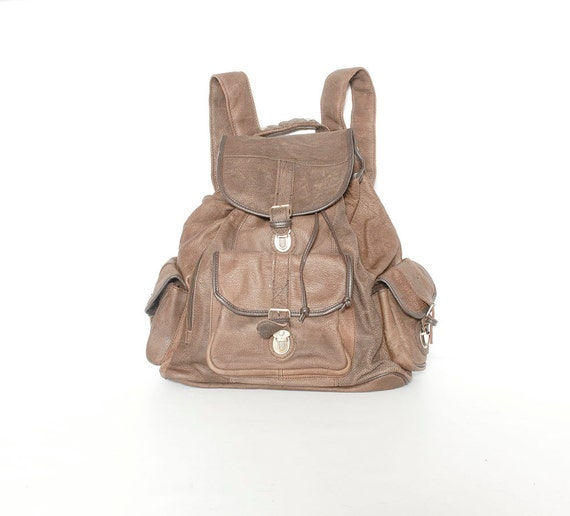 Vintage XL Brown Leather Backpack
