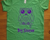 Big Sister Shirt - 8 Colors Available - Kids Owl Big Sister T shirt Sizes 2T, 4T, 6, 8, 10, 12 - Gift Friendly - redbrickwall