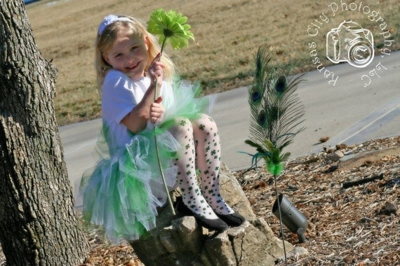 Luck of the Irish St. Patrick's Day Girls' Tutu in Emerald and White