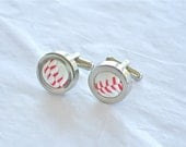 Baseball cufflinks recycled base ball authentic handmade stainless steel cuff links gift for boyfriend husband anniversary baseball fans