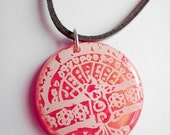 Tree of Life Pendant Necklace Ivory Lace Over Pink Gold Resin Gray Suede Cord Sterling Silver