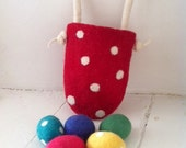 Merino Easter Basket & 5 Eggs  - Bright Colours Polka dots Rainbow Wool Handmade Waldorf Party Favours Spring - MerinoAngel