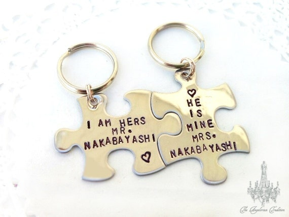 Couples Puzzle Piece Custom Stamped Keychain Set