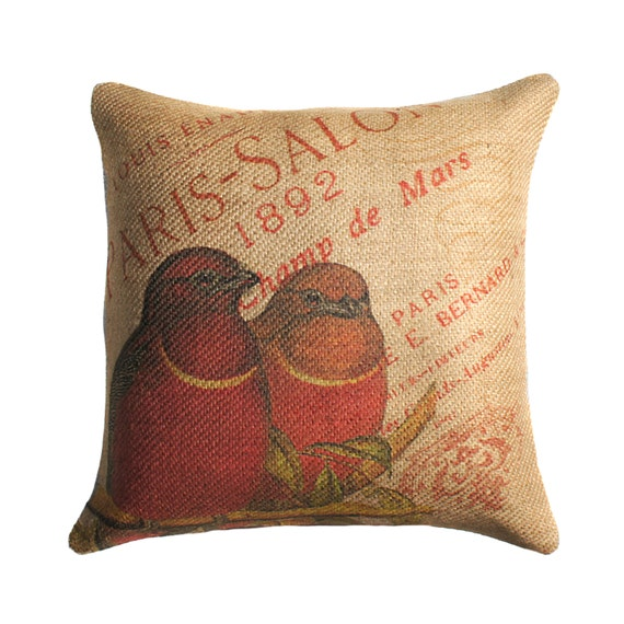 Burlap Pillow Cover of Red Birds, French Throw Pillow, Cushion Cover, Paris, 16 X 16