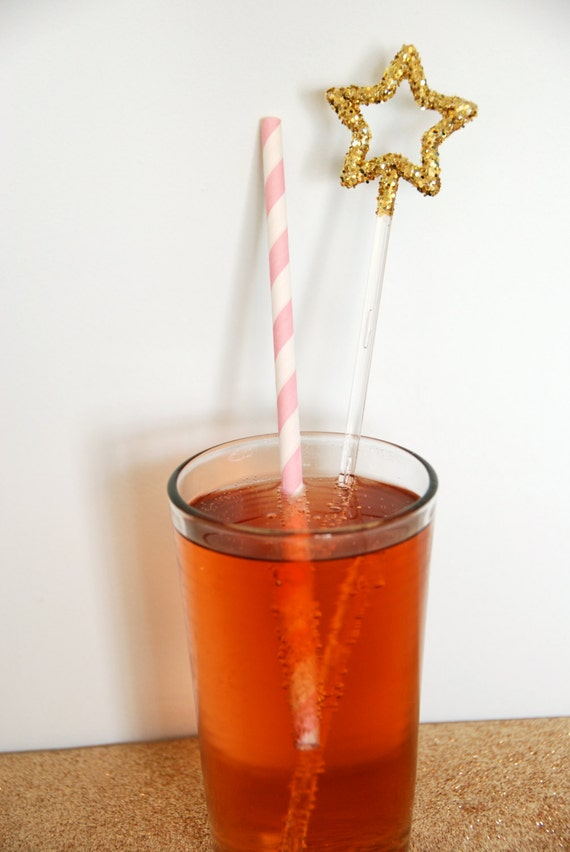 Bold Gold Glitter Star Swizzle Sticks