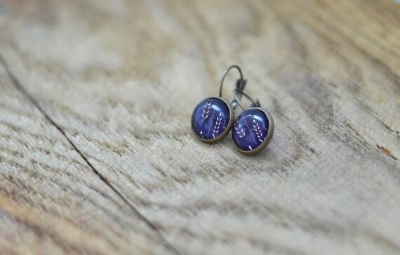 Purple Earrings - Cabochon Earrings - Gift for her