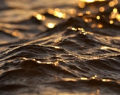"Ocean Photography - Water Photography - gift idea - golden dark amber wall art - 11x14 Photograph - ""Rolling Waves"" - andpersandstudio"