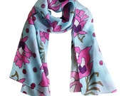 Sea Blue Pink Flowers Silk Scarf Winter and Spring Fashion