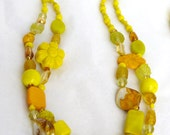 Bright Yellow Flower Mix Beaded 3 Piece Jewelry Set - UniqueCreationsBB