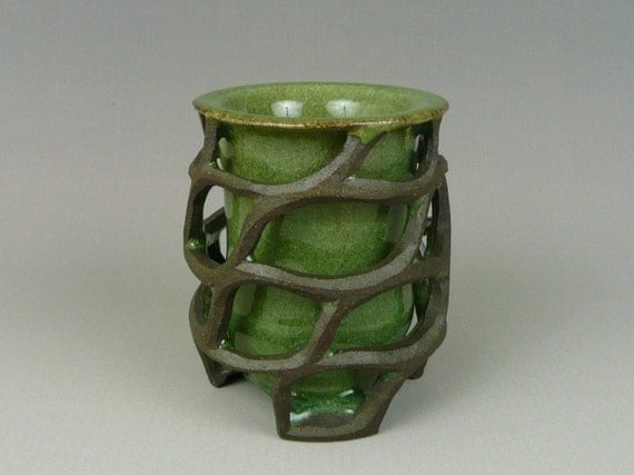 Double Layered Hand Thrown Ceramic Mug, Hand Carved Black Mountain Clay, Green Glaze