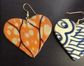 Heart-shaped fabric covered wood earrings,