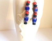 Beaded dangling earrings African beads ethnic jewelry