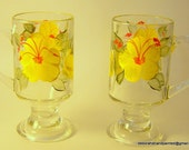 Hand Painted Glass Coffee Cups Yellow Flowers Upcycled-Original Art Home Decor Gift Special Occasion