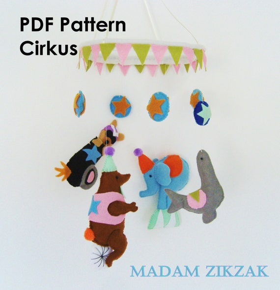 PDF pattern for felt, Circus mobile pattern, sew pattern, DIY