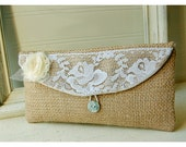 burlap purse bag lace wedding clutch rustic cotton linen shabby rose flower color choice Personalize Bridesmaid party gift MakeUp tagt team