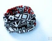 "Black White & Red ""Tribal"" Print Linen Coil Cuff Bracelet -- Original Handmade Jewelry"