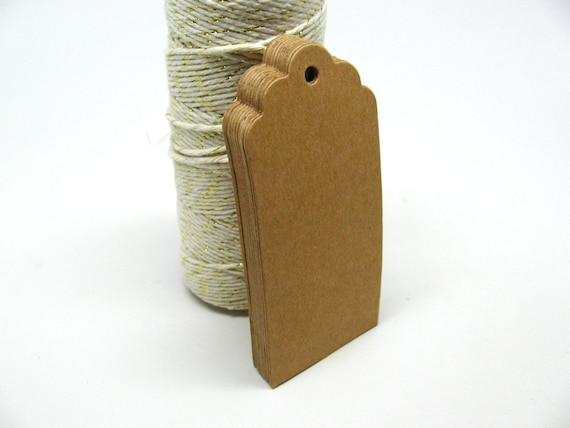 20 Scalloped Edge Brown Kraft Gift Tags, Blank Kraft Tags with Kraft Paper Ties