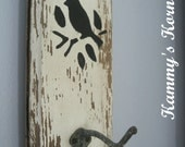 Shabby Chic Bird and Hook  Sign Rustic Barnwood