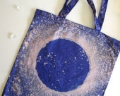 Blue MOON Galaxy Bag -  Moon Tote - Hand Dyed Eco Friendly Bleached Cotton Canvas Tote Bag - Michelebuttons