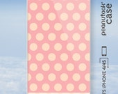 Polka dots iPhone case White plastic case for iPhone 4S with salmon pastel pink polka dot pattern with soft spring colors case for iPhone 4S - PeanutoakCase