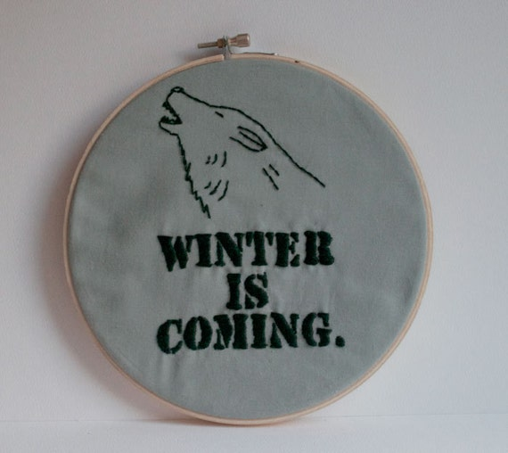 Winter is Coming - Game of Thrones - 6-inch embroidery hoop wall art