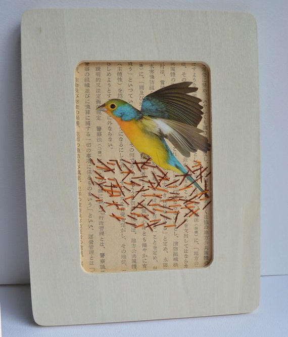 Mixed media stitch collage - bird in stitched nest on paper - 4x6 inch frame