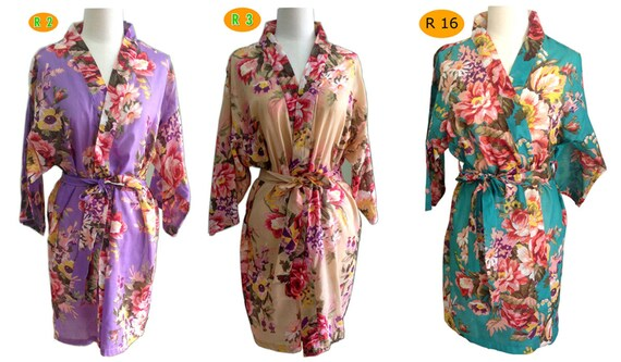 Set 4 pcs for the lovely Bride Kimono Robes bridesmaids Tiffany Colours and blooms maid of honor spa robe beach cover up